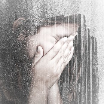 Grunge portrait of a girl crying